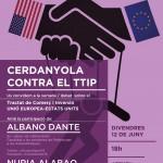 "Cartell de la Xerrada ""Cerdanyola contra el TTIP"", clica per ampliar"