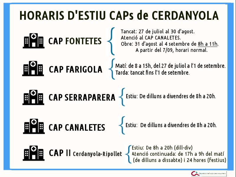 Horaris CAPS ESTIU 2015
