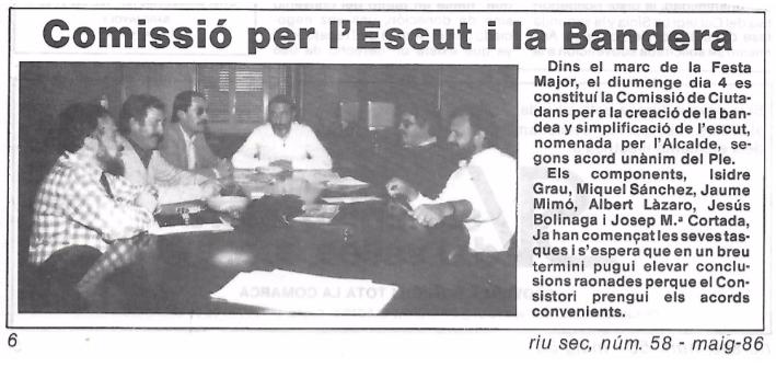 D'esquerra a dreta, Joan Maria Cortada, Albert Lázaro, Jaume Mimó, Enric Sanabre, Miquel Sánchez i Jesús Bolinaga. Arxiu Albert Lázaro