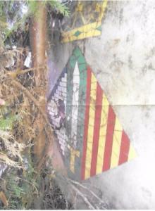 Condicions actuals en què es troba l'escut. Arxiu Albert Lázaro