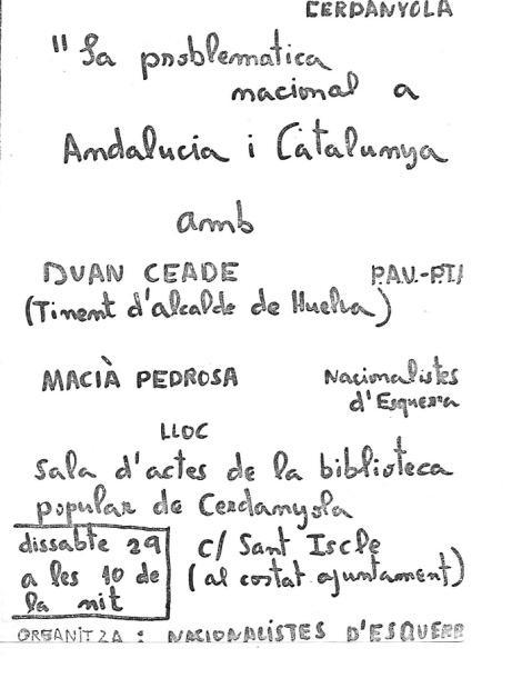 Octaveta de convocatòria de l'acte. Arxiu: Albert Lázaro