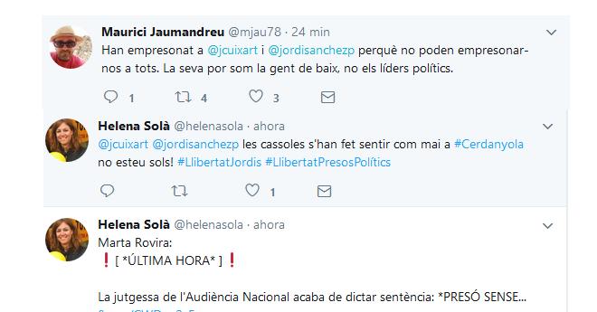 """La majoria de representants polítics es manifesten contra l'empresonament polític dels """"Jordis"""""""