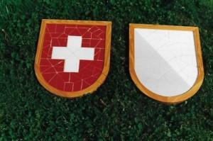 Escuts fets amb la tècnica del trencadís del cantó de Zuric i la Confederació Helvètica, donació que vaig fer al Ministre de Cultura de l'Ajuntament de Zuric (Arxiu Lázaro)