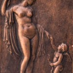 Reproducció d'un relleu (probablement) de Diana i Cupido, feta amb uralita al taller d'Albert Lena (Col·lecció Albert Lázaro i donació de Dídac Redondo).